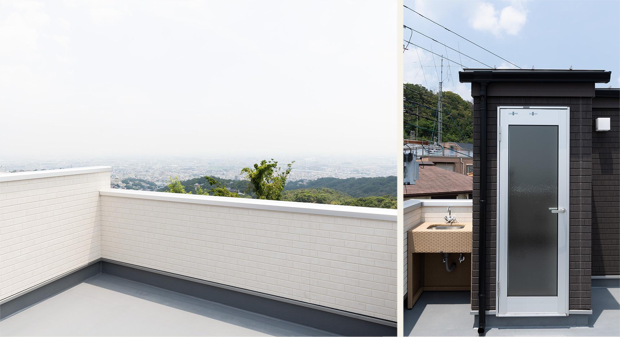 手洗い水栓のついた屋上バルコニー
