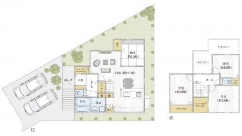 31坪4LDK|家事を楽にする間取り。キッチン周りの動線+豊富な収納スペース