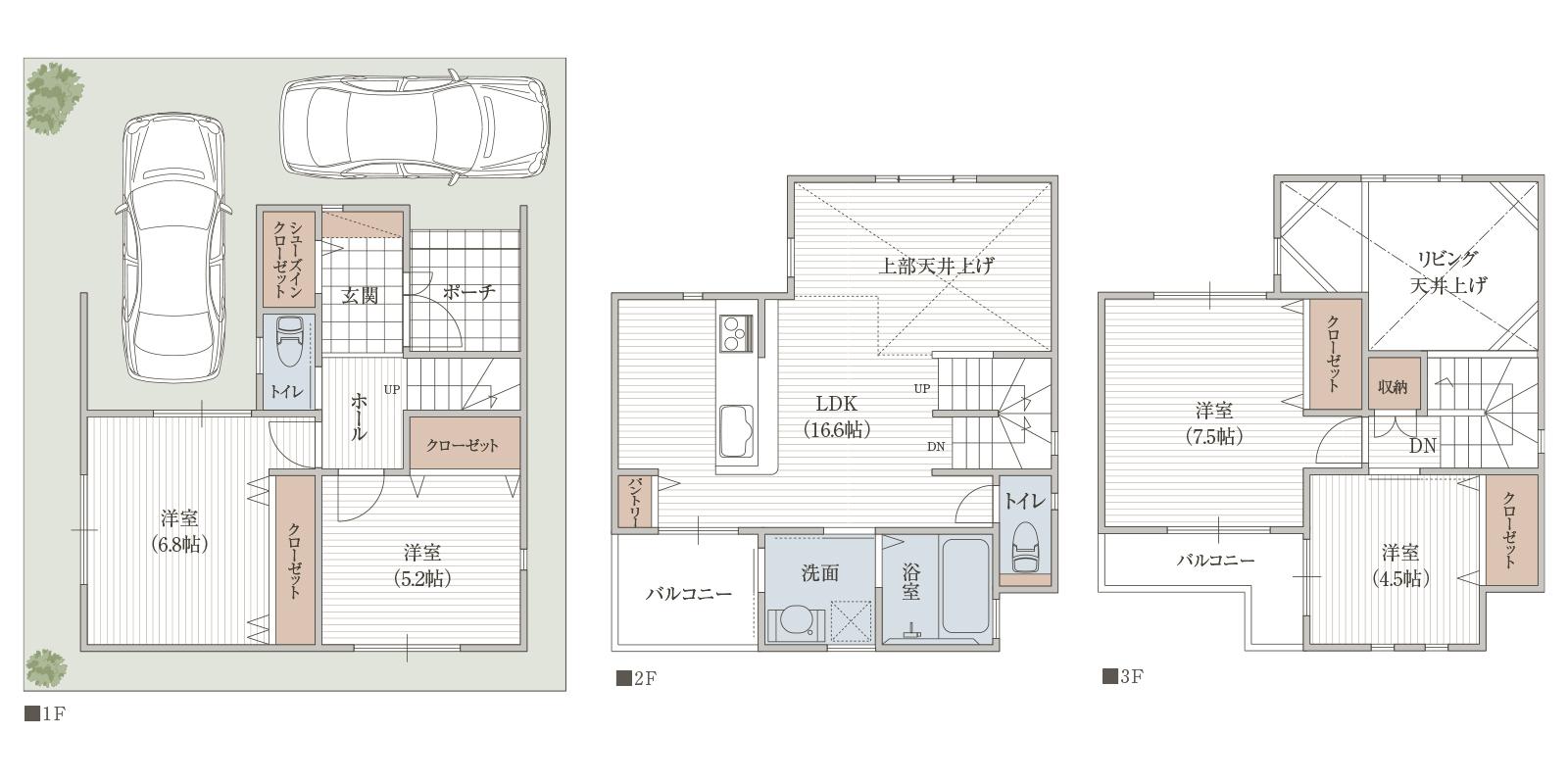 23坪の敷地に100㎡超の居住空間