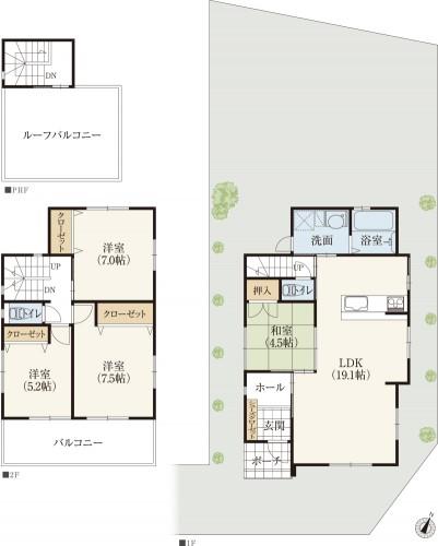キッチンから見渡せるリビング・ダイニングと和室とリビング階段の新築間取りプラン
