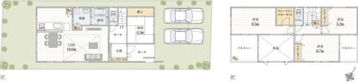 広さを感じる横幅LDKはL字型配置で家事と子育てできる新築間取り例