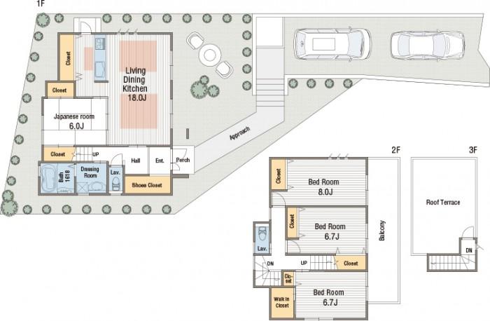 【南玄関35坪4LDK 3階建】 キッチンに扉付パントリー&和室で子育てと家事の間取り