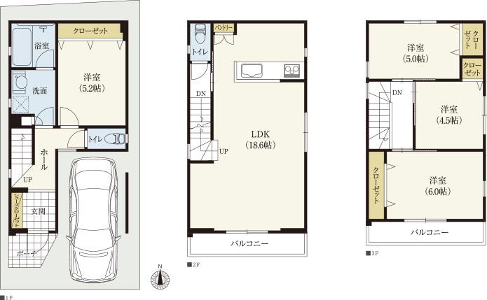 3階建て南玄関32坪| 南北に長い土地に適したコンパクトな4LDKの狭小間取り