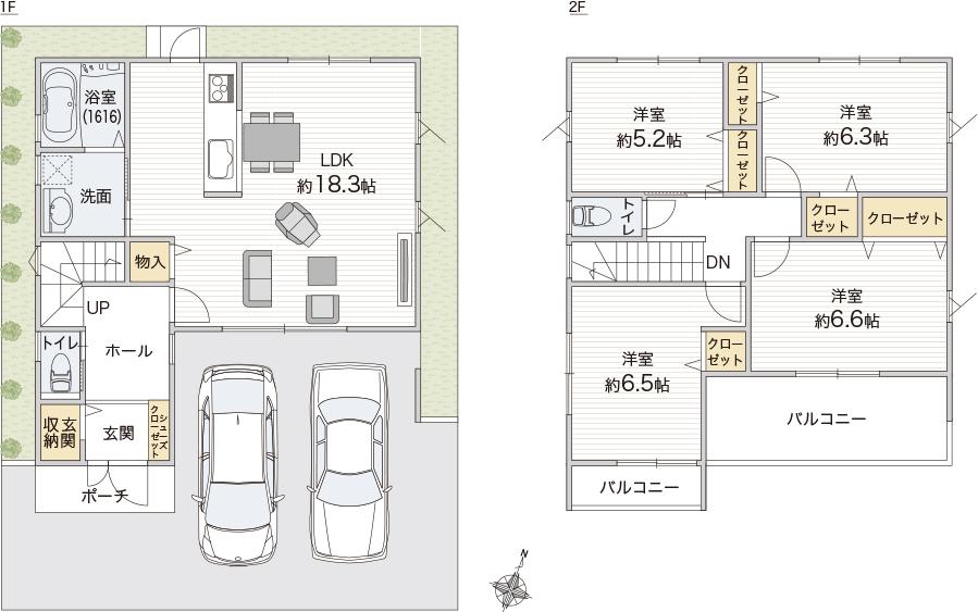 【南玄関30坪4LDK 2階建】 日当りと風通しに拘った2階建て正方形の間取り