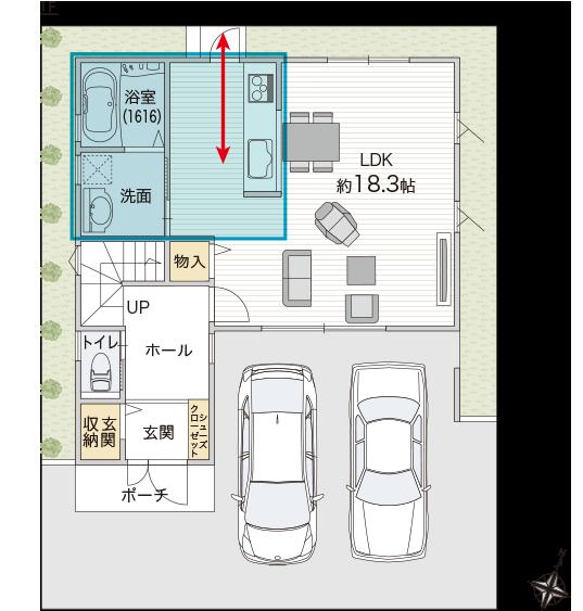 キッチン、洗面室、浴室を固めて効率的な家事動線に