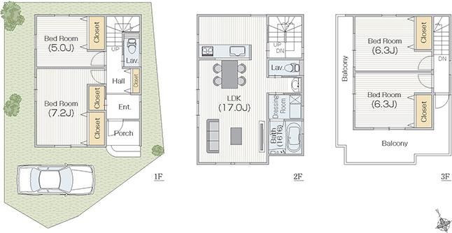 南東玄関30坪4LDK 3階建 2階リビングのオシャレな間取り