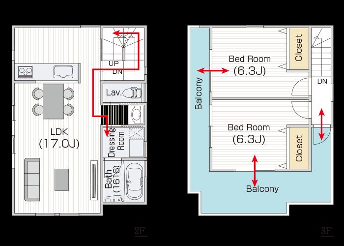 3階は寝室の周囲3方にバルコニーでオシャレに。 階段から直線で出入りできる快適な洗濯動線も