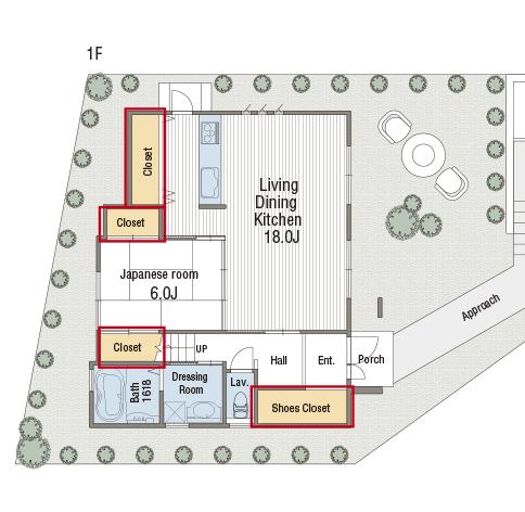 大型シューズクローク、ウォークインクロゼット、キッチンパントリー、 人気の収納完備で延床35坪の広い空間もスッキリ
