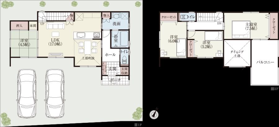 【南東玄関30坪台横長】 リビング階段と吹抜けのある明るい家