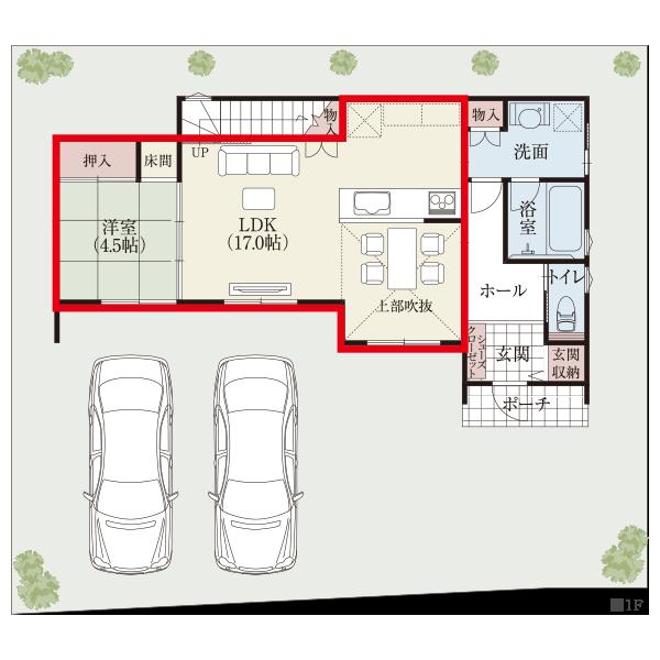 キッチン、ダイニング、和室が南向きで横並びの明るく開放的な家族フロア