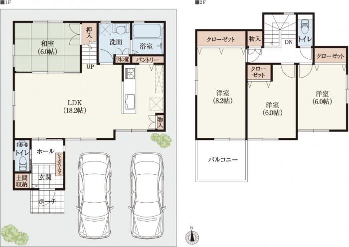 【南玄関30坪台2階建て】 玄関&キッチン収納付き家事動線の間取り