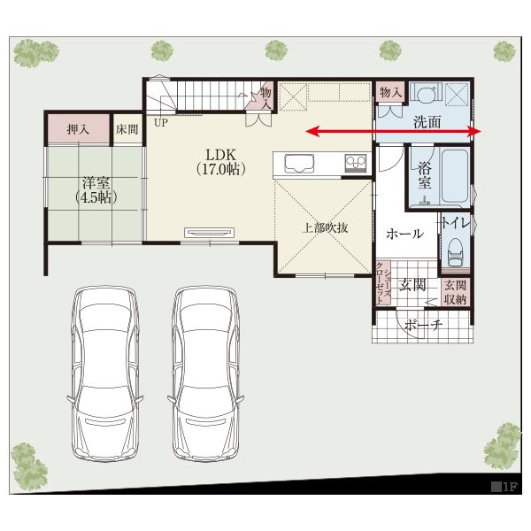 キッチン中心の空間。 キッチン、洗面室、庭を一直線に並べた家事動線