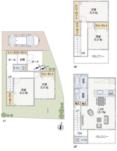 3階建間取り 20坪台土地に100㎡超、夫婦別室も可能な4LDK