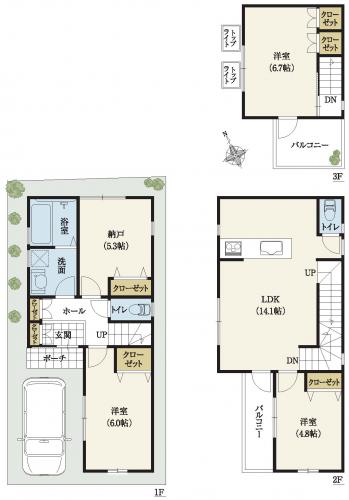 3階建間取り 20坪台土地3LDK+納戸、トップライト付きLDK