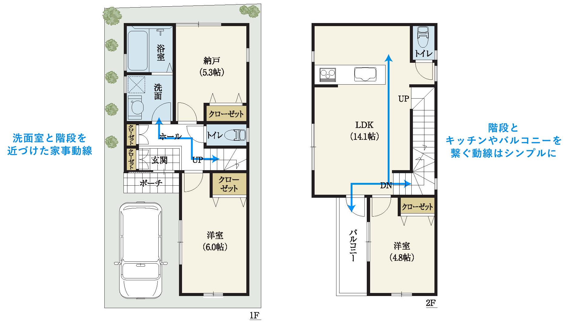 狭小3階建の家は家事動線はコンパクトにシンプルに