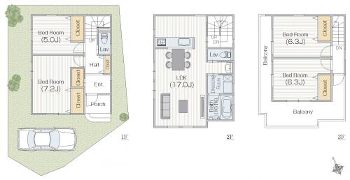 3階建間取り 20坪台土地。屋上基地のある家