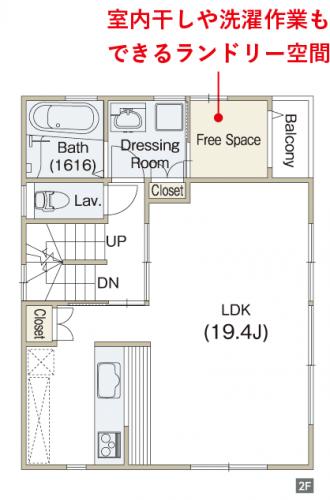 洗面室とバルコニーの間のランドリールーム