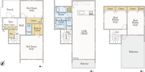3階建4LDK間取り 40坪台土地、ルーフバルコニー付きオシャレ住宅