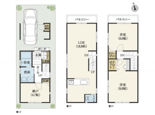 3階建間取り 間口狭+狭小地15坪。南北に細長い南玄関の狭小住宅