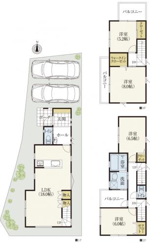 3階建間取り 30坪台土地に4LDK+P2台、南北に細長い家
