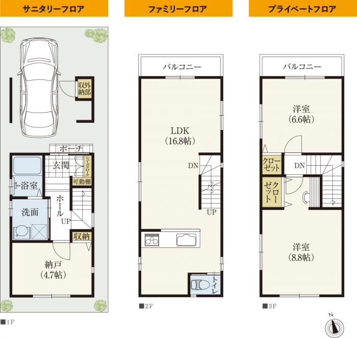狭小住宅の3階建ての間取りはシンプルにメリハリを