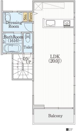 20帖LDKと対面キッチン