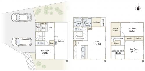 3階建4LDK間取り 土地60坪以上。3階が玄関のオシャレな家
