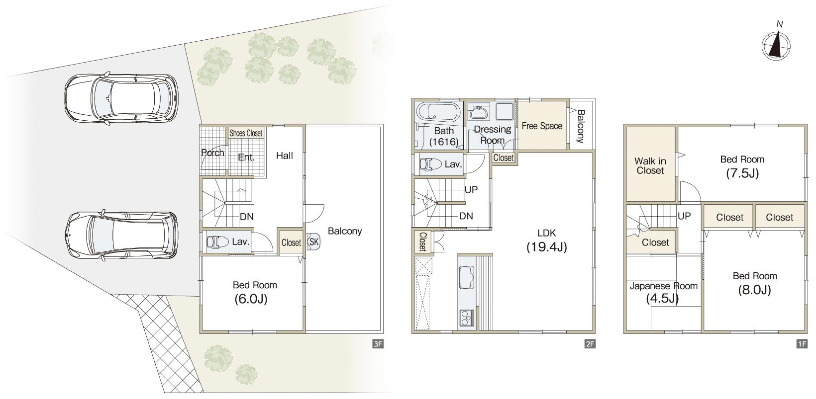 土地60坪以上。3階が玄関のオシャレな3階建住宅